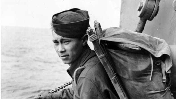 Unangax/Aleut soldiers such as George Fox, and, shown here, Simon Plentikoff served in several WWII theaters. (Photo courtesy of Aleutian-Pribilof Islands Association).