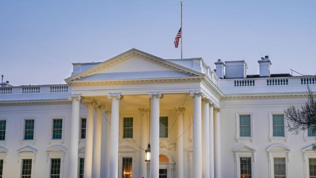 The American flag flies at half staff above the White House Monday, Feb. 22, 2021, in honor of the 500,000 Americans who have died from the COVID-19 virus. (Official White House Photo by Chandler West)