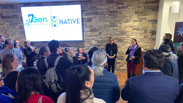 Minnesota Lt. Gov. Peggy Flanagan, White Earth, and Kansas Rep. Sharice Davids, Ho-Chunk, at a gathering at the Mdewakanton Sioux Community Conference Center on February 11, 2019, in Washington D.C. (Photo by Jourdan Bennett-Begaye, Indian Country Today, File)