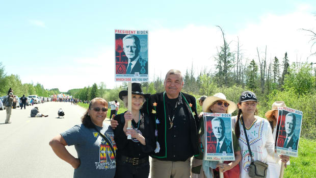 White Earth chairman Michael Fairbanks joins Jane Fonda who came to stand against Line 3 on June 7, 2021 at Mississippi River crossing near Solway, MN (Photo by Mary Annette Pember) June 7