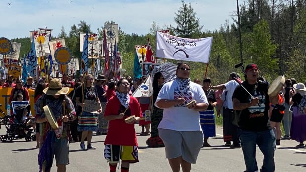 Protesters march to stop construction on Enbridge's Line 3 pipeline project on June 7, 2021 in northern Minnesota near Solway at one of Mississippi River crossings by pipeline . (Photo by Mary Annette Pember/Indian Country Today)Enbridge march, June 7