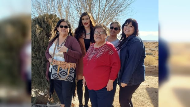 A family photo of Christmas in 2020. Rena Ann George (middle) with her daughters Mona Seamon (left) and Berlyn (middle right) and granddaughters Martika and Maeghn. (Photo courtesy of Mona Seamon)