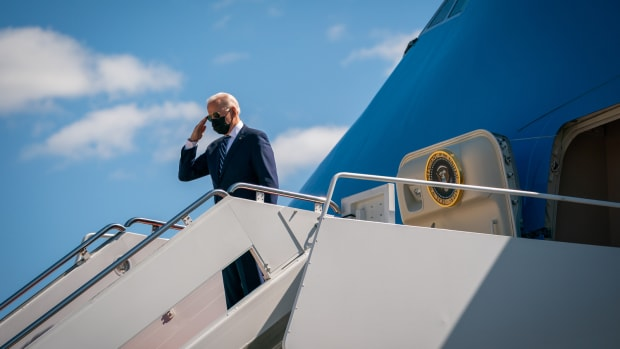 President Joe Biden disembarks Air Force One at Chennault International Airport in Lake Charles, Louisiana, Thursday, May 6, 2021. (Official White House Photo by Adam Schultz)