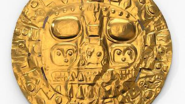 """Pictured: Pre-Inka–style chest ornament, known colloquially as the Echenique Disc, AD 1000–1500. Cusco, Peru. Gold-silver-copper alloy. 13.7 × 13.3 × 0.2 cm. The intricate designs embossed on the disc have calendric or religious significance.From """"The Great Inka Road: Engineering an Empire,"""" edited by Ramiro Matos Mendieta and José Barreiro."""