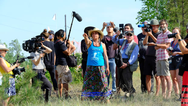 Winona LaDuke, director of Honor the Earth, an Indigenous environmental advocacy organization, takes journalists on a tour of Enbridge's Line 3 construction sites near Park Rapids, Minnesota on June 7, 2021. (Photo by Mary Annette Pember, Indian Country Today)