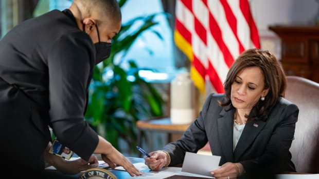 Vice President Kamala Harris meets with Symone Sanders, Senior Advisor and Chief Spokesperson for the Vice President, Wednesday, May 12, 2021, in the Eisenhower Executive Office Building at the White House. (Official White House Photo by Carlos Fyfe)