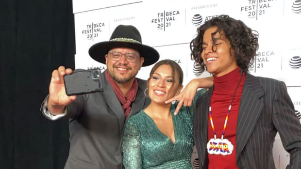 Sterlin Harjo, Paulina Alexis, and D'Pharaoh Woon-A-Tai at the premiere of Reservation Dogs on June 15, 2021. (Photo courtesy of Meghan Sullivan, Indian Country Today)