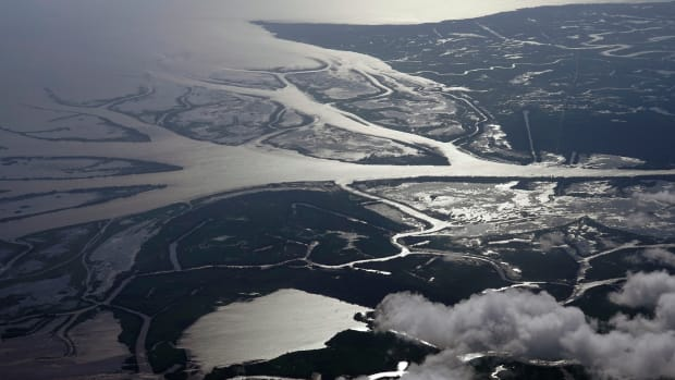 The Wax Lake Delta in the Atchafalaya Basin is seen from 8,500 feet in St. Mary Parish, La., Tuesday, May 25, 2021. In geological time, young means thousands of years. On that scale, Louisiana's Wax Lake Delta is taking its first breaths. (AP Photo/Gerald Herbert)