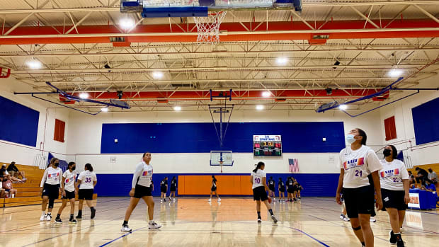 The NM Wildcats get set to play Wakolim U'Uwi on Monday, July 12 in Phoenix as part of the Native American Basketball Invitational, NABI. (Photo by Dalton Walker/Indian Country Today)
