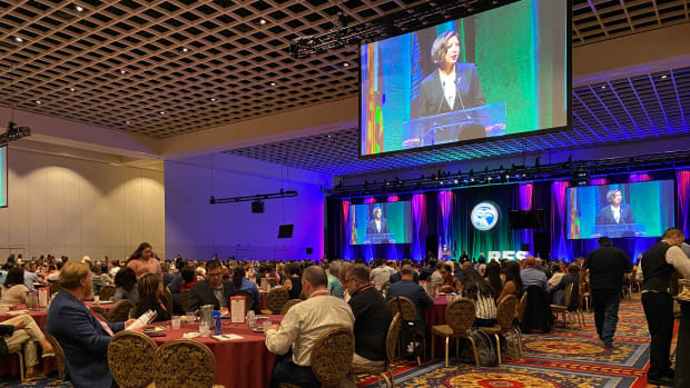Paulette Jordan speaks at the RES 2021 conference in Las Vegas, Nevada. (Photo by Aliyah Chavez, Indian Country Today)