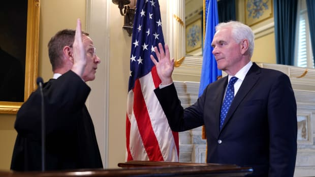 John O'Connor is sworn in as Oklahoma's new attorney general by Oklahoma Supreme Court Justice M. John Kane IV at the state Capitol in Oklahoma City, Friday, July 23, 2021. (Photo courtesy of Gov. Kevin Stitt's Facebook page)