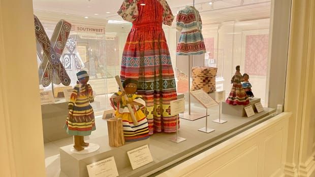 A mix of old and new at the American Heritage Gallery at Disney's Epcot Center in Orlando, Florida, showcases Seminole artifacts from the tribe's Ah-Tah-Thi-Ki Museum. Epcot has been rotating pieces onto display from the museum to give a wider audience to the artisanship. The museum closed to visitors during the COVID-19 pandemic but is set to reopen Aug. 21, 2021. (Photo courtesy of Walt Disney World Resort)