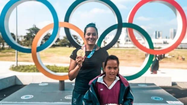 """Olympic gold medalist Tyla Nathan-Wong added a picture of her younger self to a Facebook post after winning a medal with New Zealand's women's rugby team. """"If only you could believe and see what you have achieved in your lifetime,"""" she wrote. Nathan-Wong, Ngāpuhi, is one of at least 25 Indigenous athletes who won medals in the Tokyo Olympics. (Photo courtesy of Tyla Nathan-Wong)"""