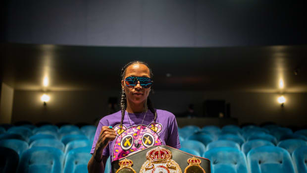 """Boxing's first Native female world champion defending Super Lightweight title - photo by Rudy Mondragon at Kali """"K.O."""" Reis's weigh-in on Thursday, August 19th, 2021."""