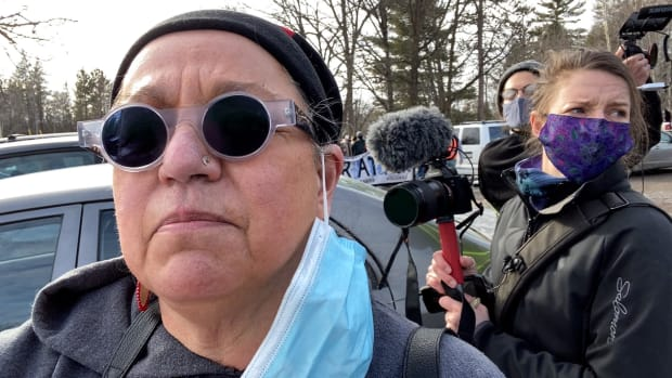 Mary Annette Pember, national correspondent for Indian Country Today, covering Enbridge Line 3 protest in March near Grand Rapids, Minnesota. (Photo by Mary Annette Pember, Indian Country Today)