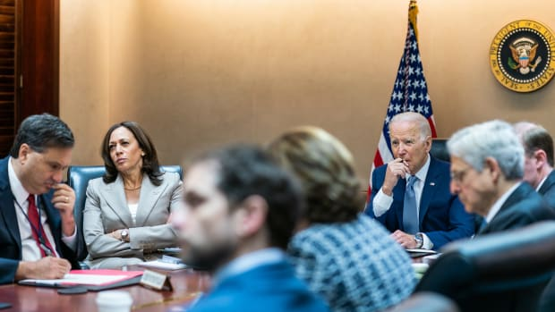 President Joe Biden and Vice President Kamala Harris hold a national security cyber briefing to discuss efforts to counter ransomware, Wednesday, July 7, 2021, in the White House Situation Room. (Official White House Photo by Cameron Smith)