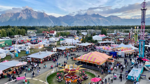 Alaska State Fairgrounds with Chugach Mountains. (Photo by Joaqlin Estus, Indian Country Today)