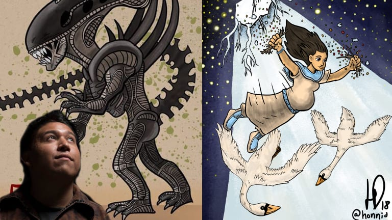 Mohawk artist creates traditional and story art with a bit of 'Star Wars' and 'Aliens' thrown in too