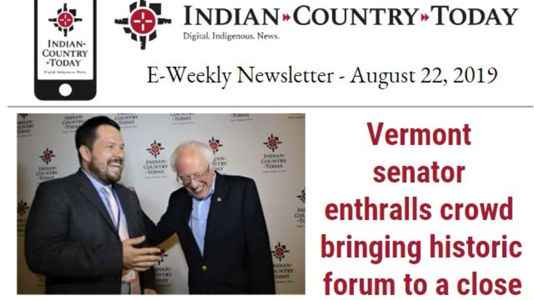 Indian Country Today E-Weekly Newsletter for August 22, 2019