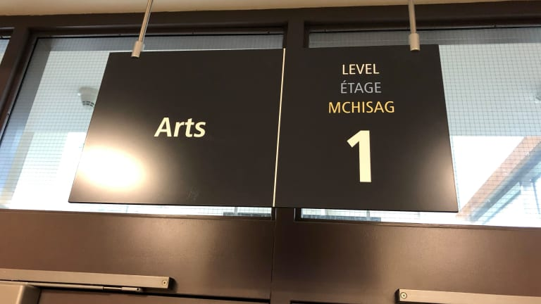 New trilingual signs at Laurentian University reflect the First Language of the territory