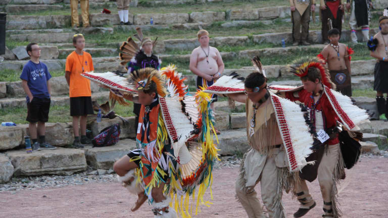 The Tribe of Mic-O-Say dance teams regularly perform' in 'Native-style regalia'