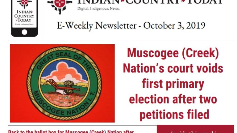 Indian Country Today E-Weekly Newsletter for October 3, 2019