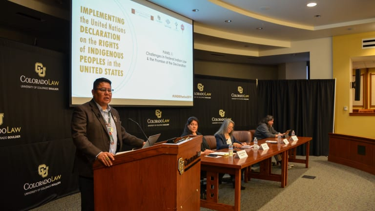 Navajo Nation Council Delegate Brown reaffirms Navajo support for United Nations Declaration on the Rights of Indigenous Peoples implementation at conference