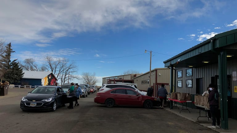 Cheyenne River Sioux Tribe Indian Child Welfare Act office and Cheyenne River Youth Project distribute 185 food packages
