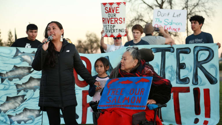 Hundreds of tribal members and youth from seven tribes rally for California salmon at Redding Tunnel hearing