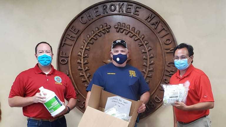 Cherokee Nation donates protective equipment including 3,000 face masks to firefighters, $12K for disinfectant unit