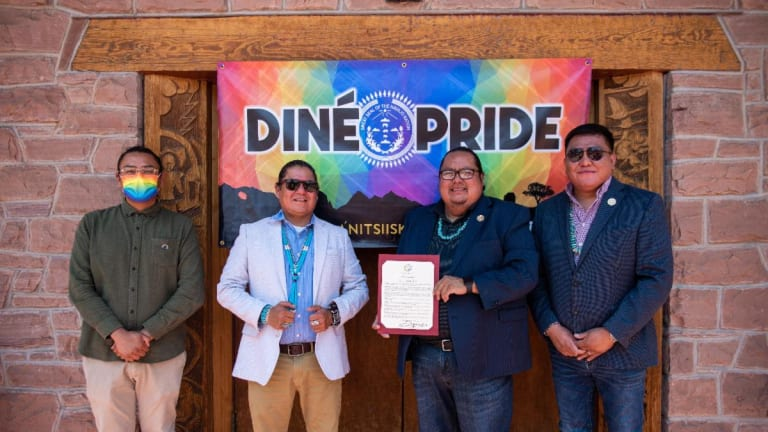 Navajo Nation Council Speaker Seth Damon and Delegate Nathaniel Brown reaffirm Diné Pride Week with second annual proclamation signing