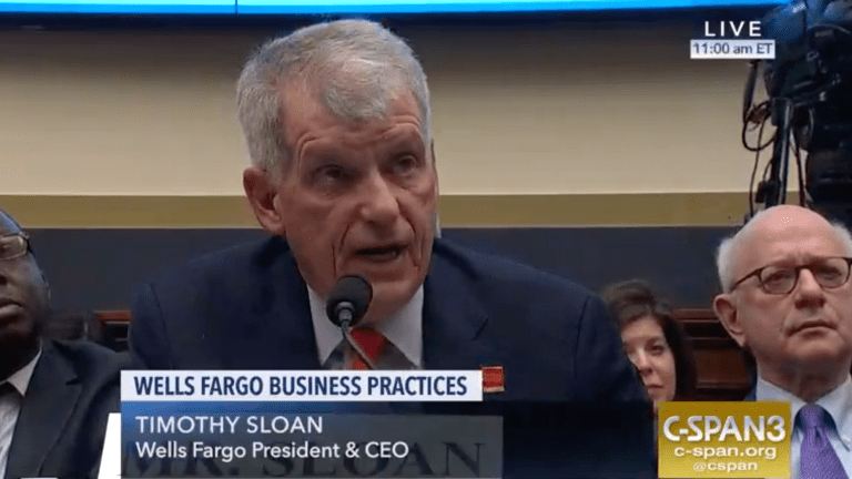 Wells Fargo CEO gets $18.4 million payday after exchange on Capitol Hill about Standing Rock, values