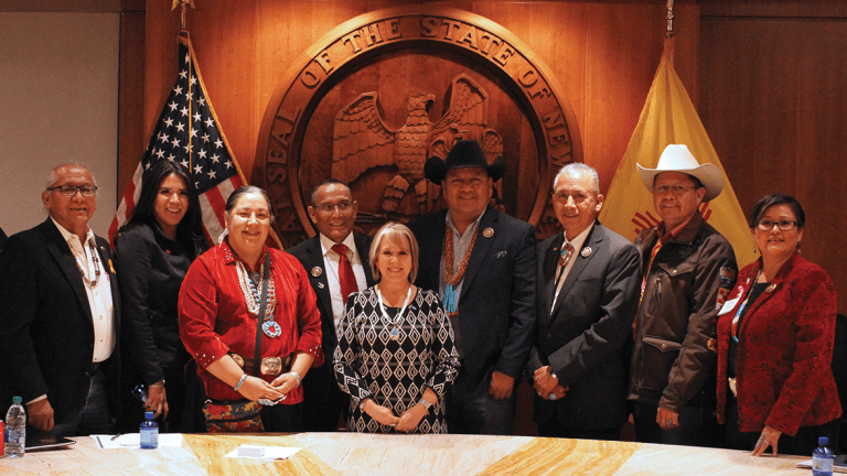Navajo Nation Council State Task Force meets with New Mexico Governor Michelle Lujan Grisham at the Roundhouse