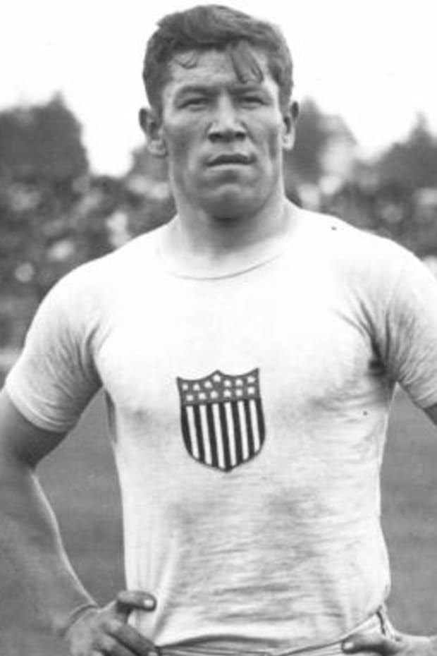 Jim Thorpe at the 1912 Summer Olympics in Stockholm, Sweden. Public domain image, courtesy the Penn Museum.