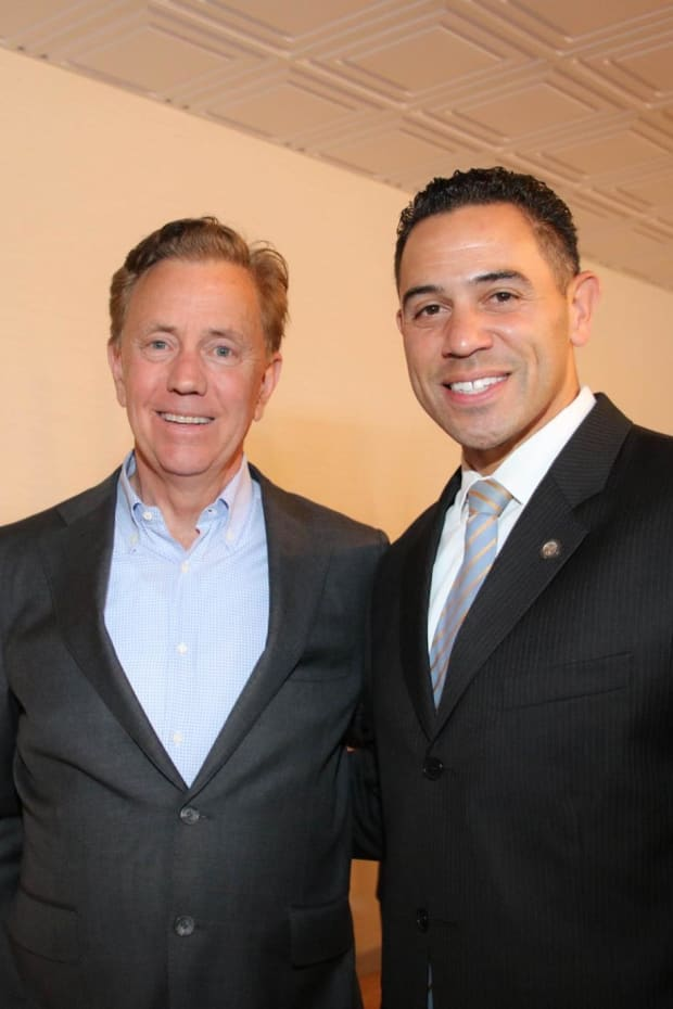 Governor Ned Lamont and Mashantucket Pequot Tribe Chairman Rodney Butler. (Photo by The Chamber of Commerce of Eastern Connecticut, Facebook)