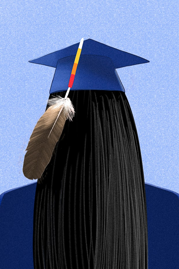 """From the chapter, """"Stories We Love."""" An eagle feather? When representation of a Native Nation gets in the way of graduation. (Illustration by Tomás Karmelo Amaya, Indian Country Today)"""