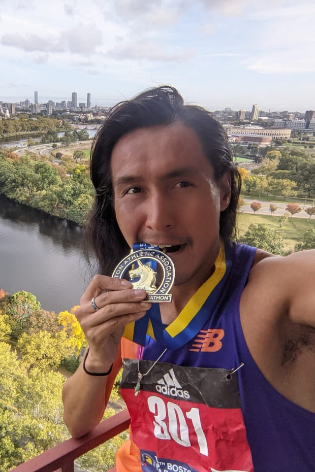 Craig Curley, Navajo, finished the 2021 Boston Marathon in a time of 2:41. (Photo courtesy of Craig Curley)