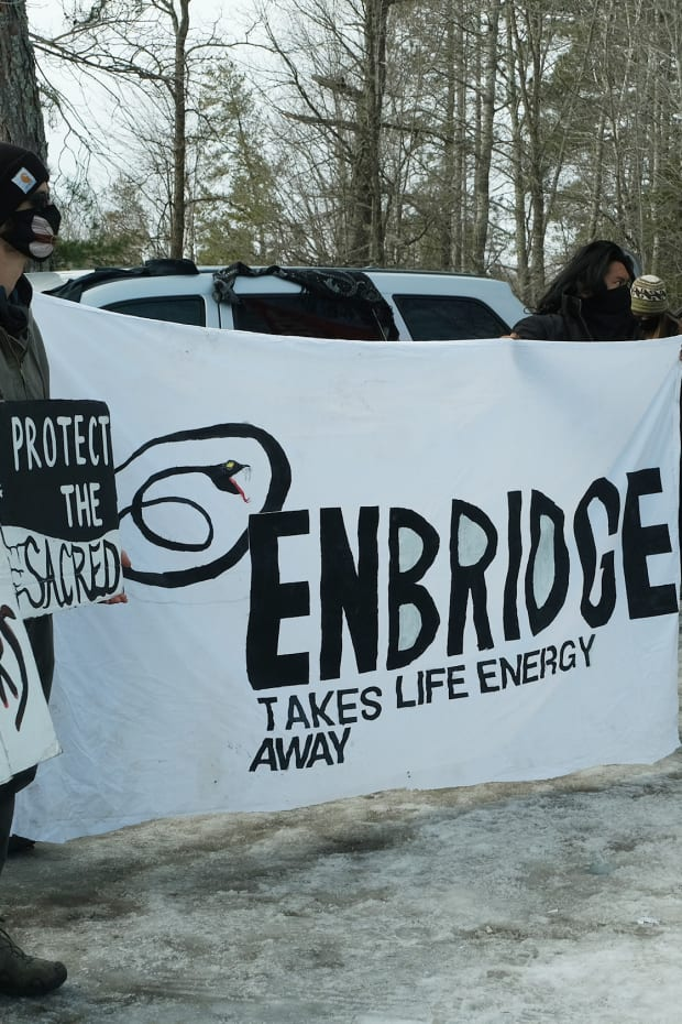 Water protectors rally against Enbridge's Line 3 pipeline in March 2021 and commemorate a pipeline spill that took place along the Prairie River near Grand Rapids, Minnesota in 1991. (Photo by Mary Annette Pember)