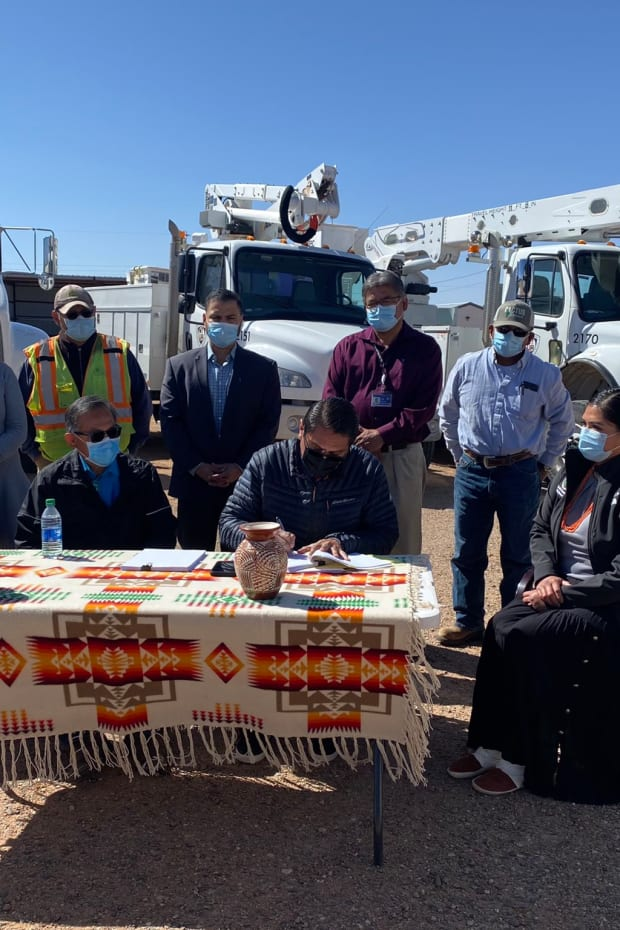 """Navajo Nation's renewable energy future takes step forward with 70-megawatt emissions-free energy project in Red Mesa community."" (Photo courtesy of Navajo Nation President Jonathan Nez via Twitter)"
