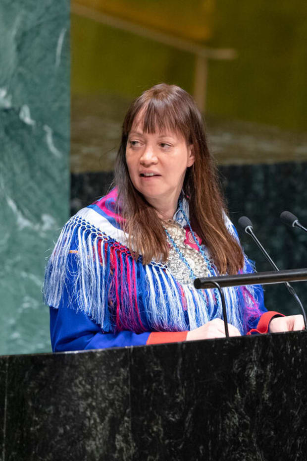 Chair of UN Permanent Forum on Indigenous Issues Anne Nuorgam. (Photo courtesy of @UN4Indigenous Twitter)
