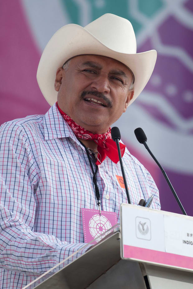 Spokesperson of the Yaqui people Tomas Rojo Valencia participated in the inauguration of the second Festival of Indigenous Cultures, Peoples and Original Neighborhoods of Mexico City in the Zócalo on Thursday, August 27, 2015. (Photo by Antonio Nava, Secretary of Culture via Creative Commons)