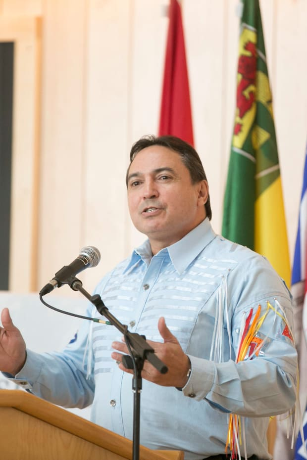 National Chief of the Assembly of First Nations Perry Bellegarde at the opening of the University of Saskatchewan's Gordon Oakes Red Bear Student Centre. (Photo by David Stobbe of Stobbephoto.ca via the University of Saskatchewan, Creative Commons)