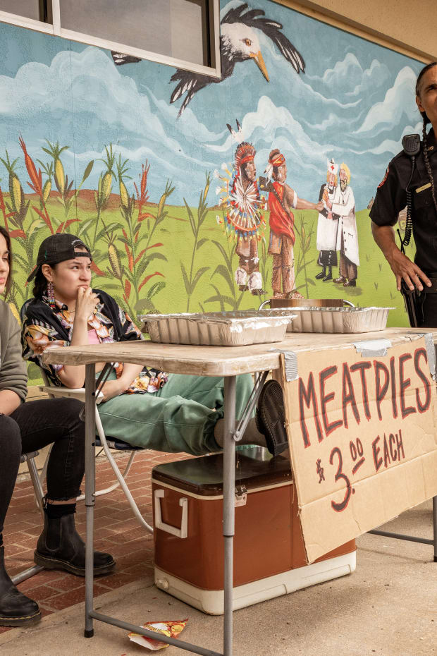 """RESERVATION DOGS """"NDN Clinic"""" Episode 2 (Airs, Monday, August 9) Pictured: (l-r) Devery Jacobs as Elora Danan Postoak, Paulina Alexis as Willie Jack, Zahn McLarnon as Big. CR: Shane Brown/FXCopyright 2021, FX Networks. All rights reserved."""