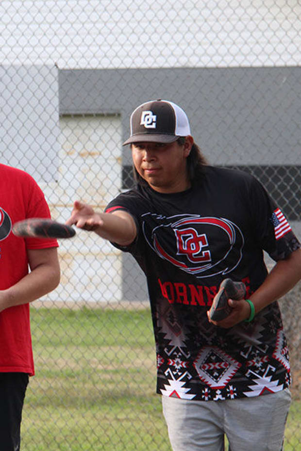 Cherokee Nation citizens Matthew Creekkiller and Ty Drywater represent the DC (Delaware County) Cornhole group. (Photo by Lindsey Bark, Cherokee Phoenix)