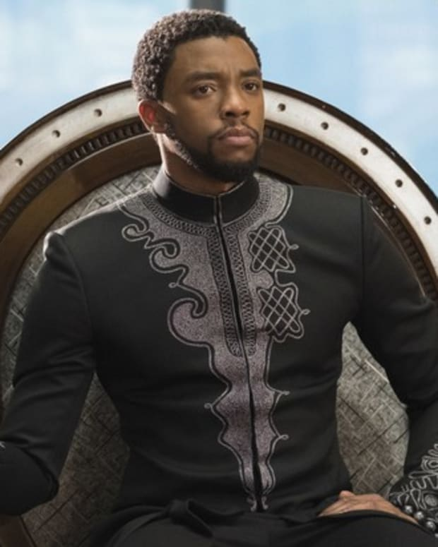"Chadwick Boseman stars in ""Black Panther."" (Photo by Matt Kennedy, Disney Marvel Studios)"