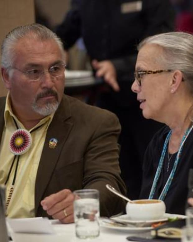 Janie Hipp, Chickasaw, shown here while serving as director of the Indigenous Food and Agriculture Initiative at the University of Arkansas, was nominated March 15, 2021 by President Joe Biden to be general counsel for the Department of Agriculture. She is currently chief executive of the Native American Agriculture Fund. She is shown here with Charlie Vig (left), then-chairman of the Shakopee Mdewakanton Sioux Community of Minnesota.