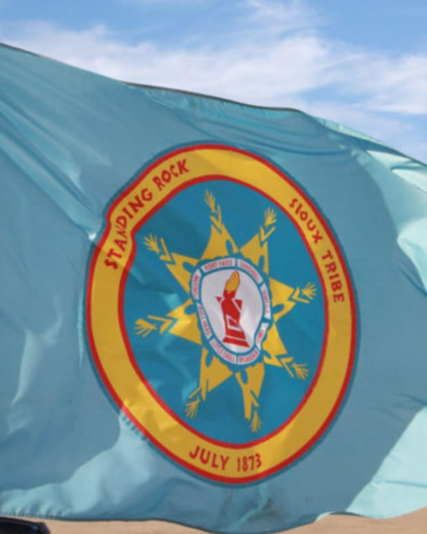 Pictured: Standing Rock Sioux Tribe flag.