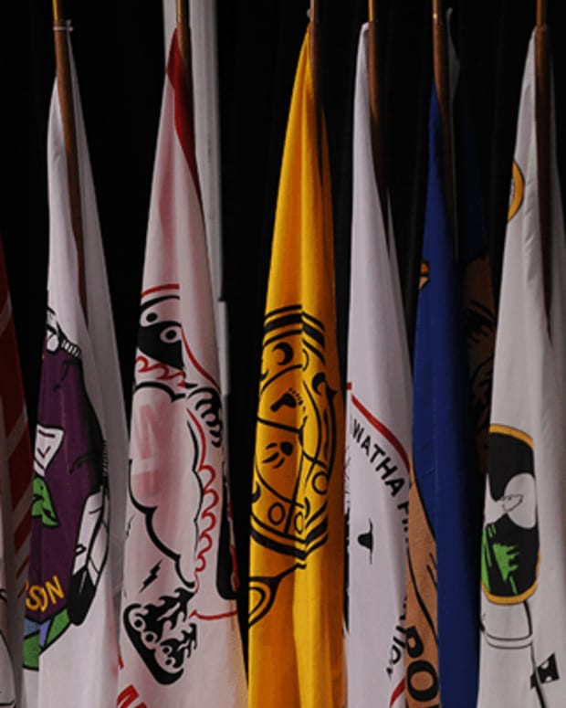 Flags from Canada's First Nations fly at the Assembly of First Nations, which represents hundreds of thousands of Indigenous people in Canada from more than 600 First Nations communities. (Photo courtesy of Assembly of First Nations)