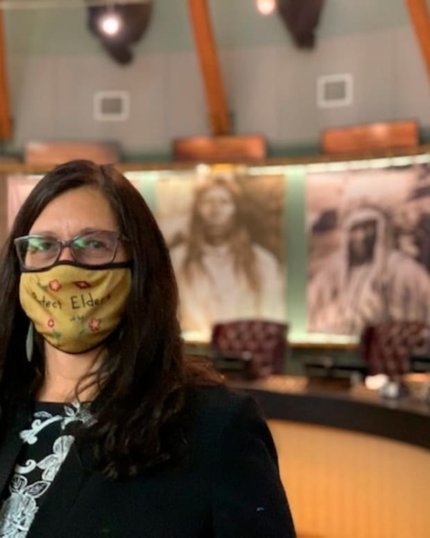 """Shelly R. Fyant, chairwoman of the Confederated Salish and Kootenai Tribes of Montana, poses for a photo on Nov. 30, 2020 in Pablo, Mont. Fyant said she was blindsided by a request to use a tribal seal on the ABC series """"Big Sky"""" when she was unaware the Flathead Nation tribe might be written into a scene. (Amy Schlatter via AP)"""