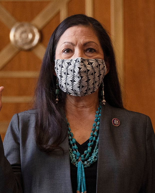Rep. Deb Haaland, D-N.M., is sworn in before the Senate Committee on Energy and Natural Resources hearing on her nomination to be Interior Secretary, Tuesday, Feb. 23, 2021 on Capitol Hill in Washington. (Jim Watson/Pool via AP)